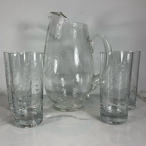 Vintage Sailing Boat Etched Glasses & Pitcher
